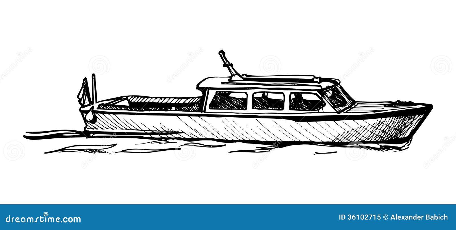 Motor boat. stock vector. Illustration of taxi, sail - 36102715