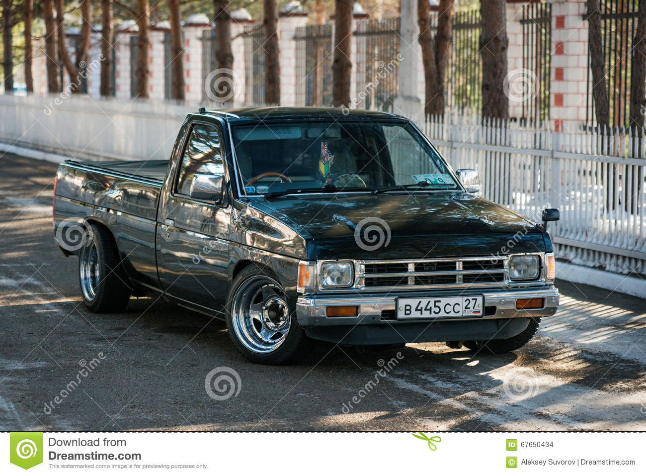 motor car nissan datsun pickup truck at the city street editorial stock image image of carry. Black Bedroom Furniture Sets. Home Design Ideas
