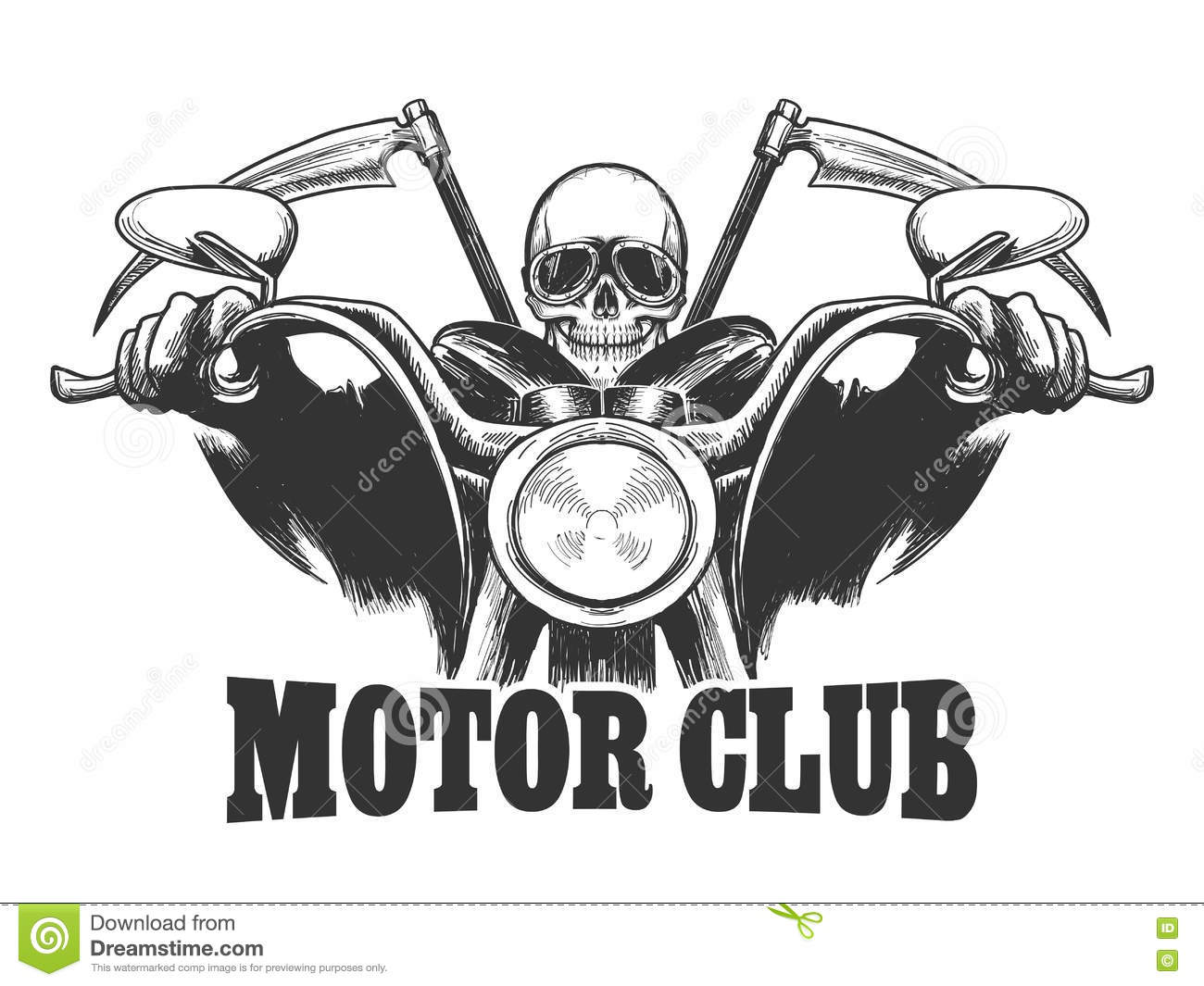 Motor Club Emblem Death On A Motorcycle In Glasses With Scythe Stock Vector Image 79716314
