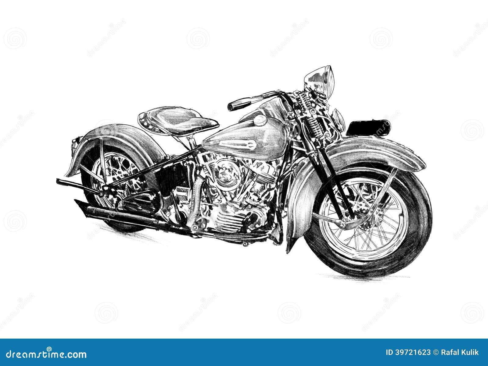 Motor cycle illustration drawing isolated art stock illustration