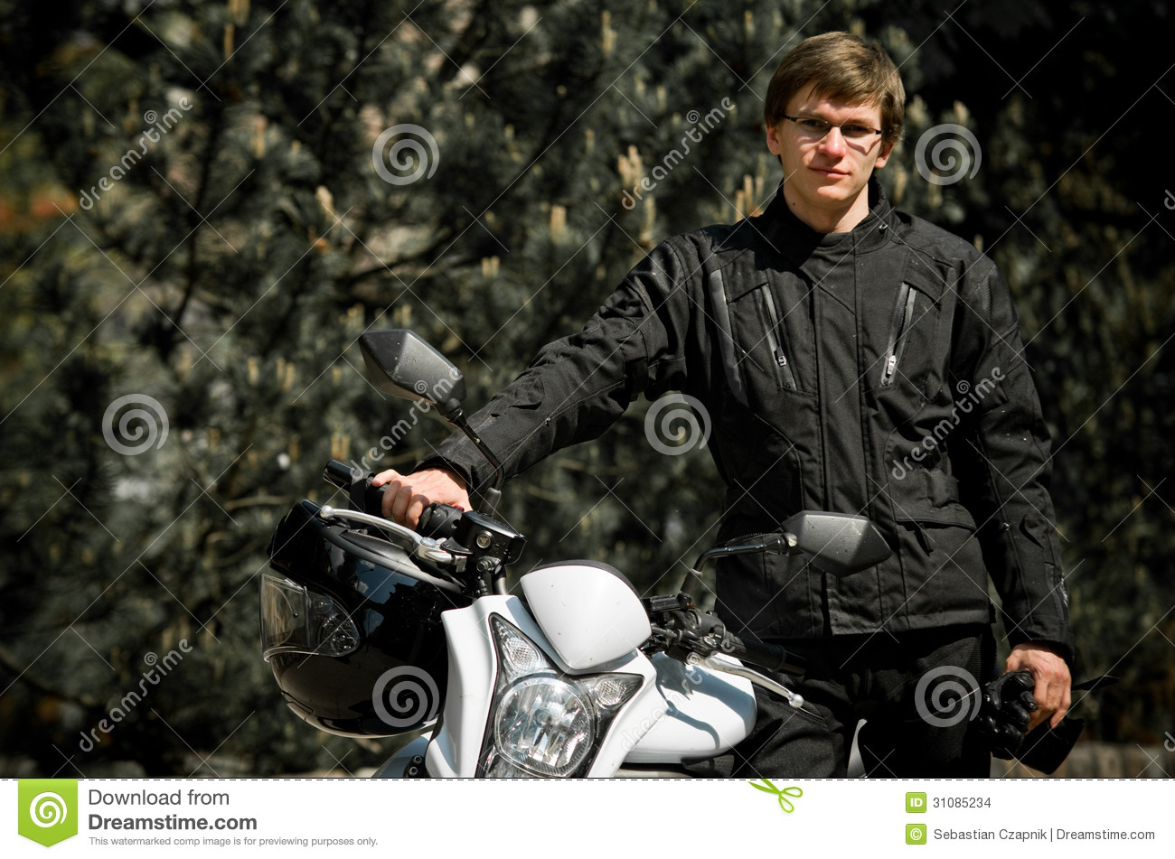 Motor Cyclist In Forest Stock Images Image 31085234