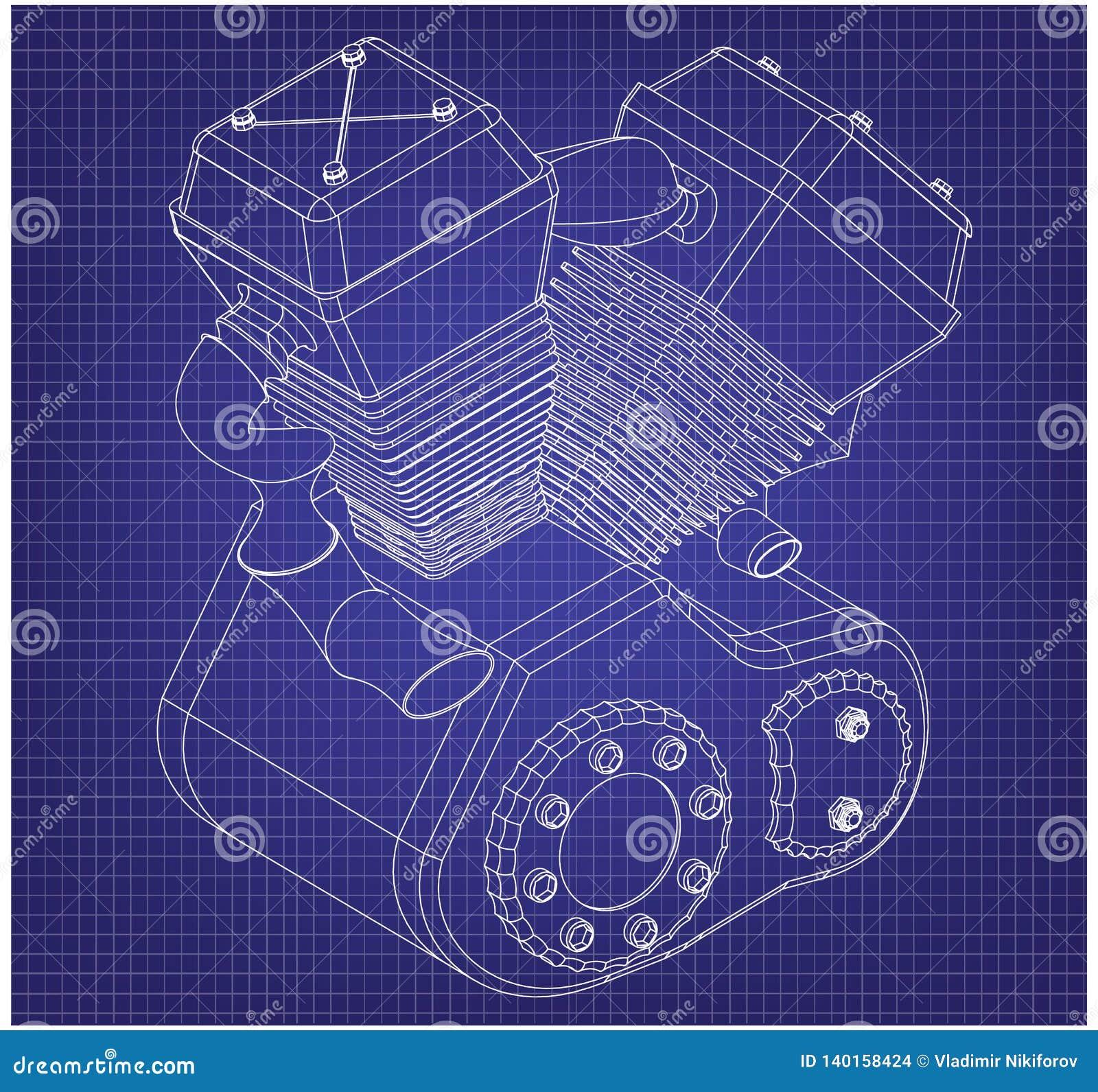 Motor da motocicleta em um azul