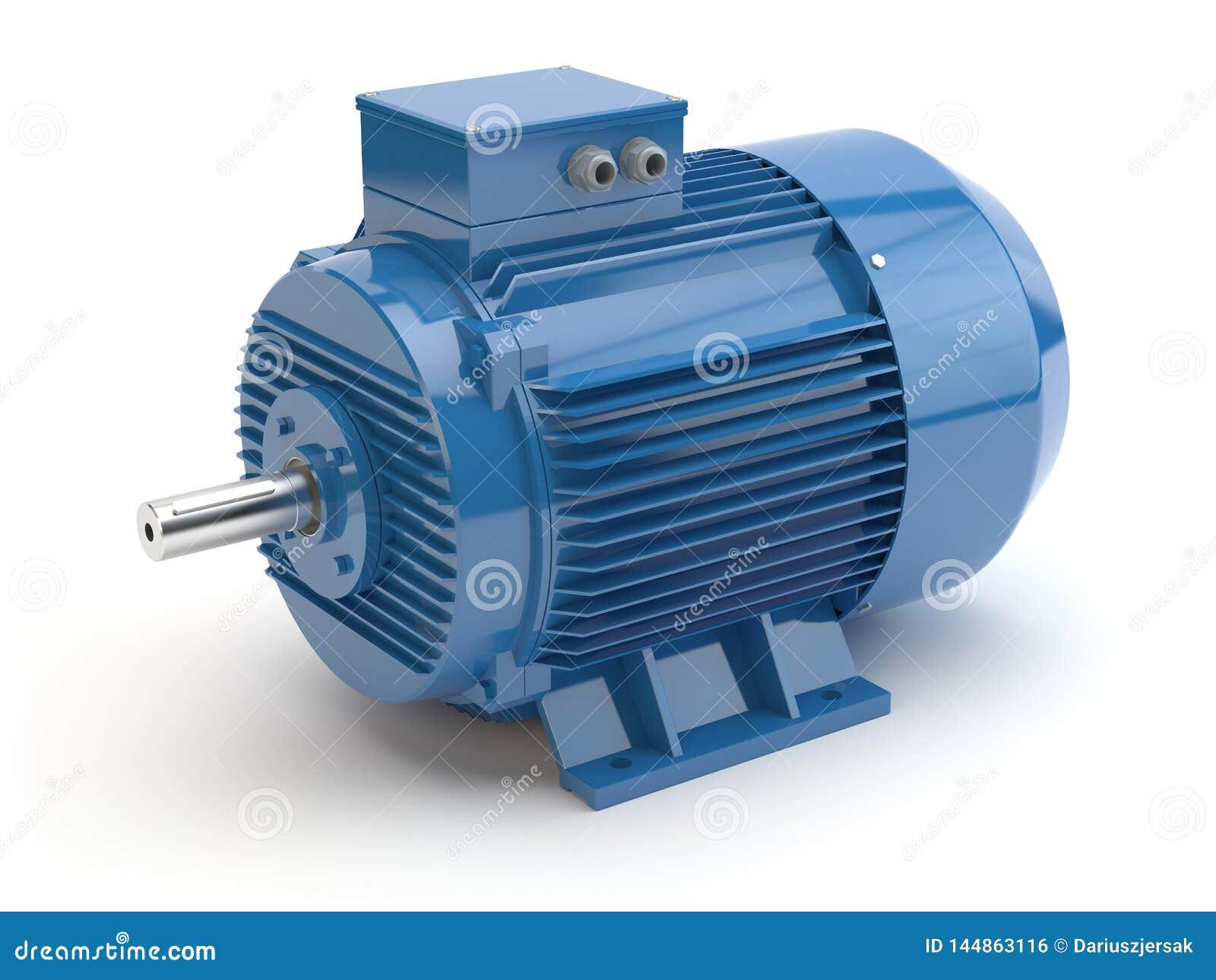 Motor elétrico azul, ilustração 3D