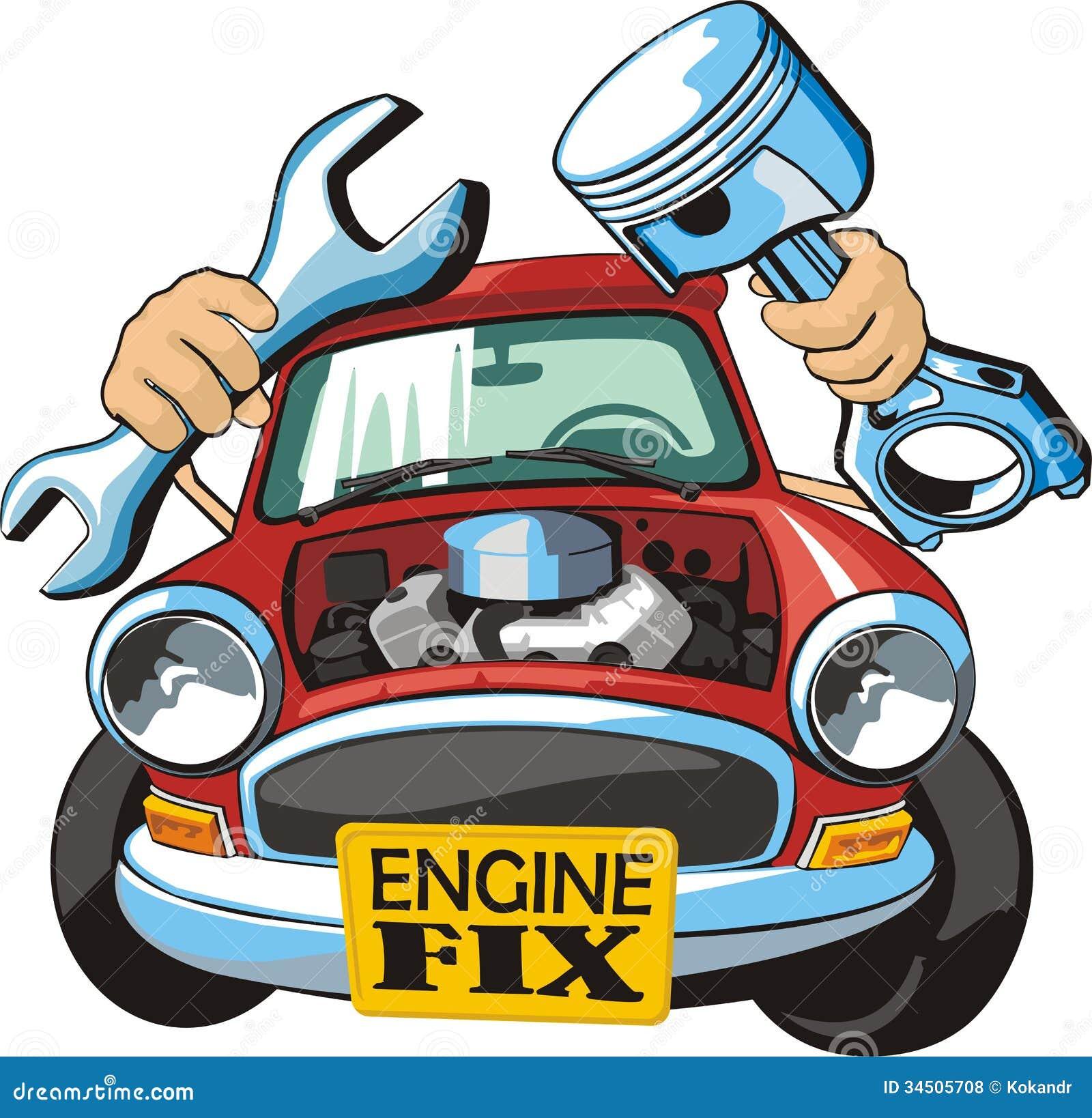 Motor fix stock vector image of detail hood repair for Motor vehicle repair license