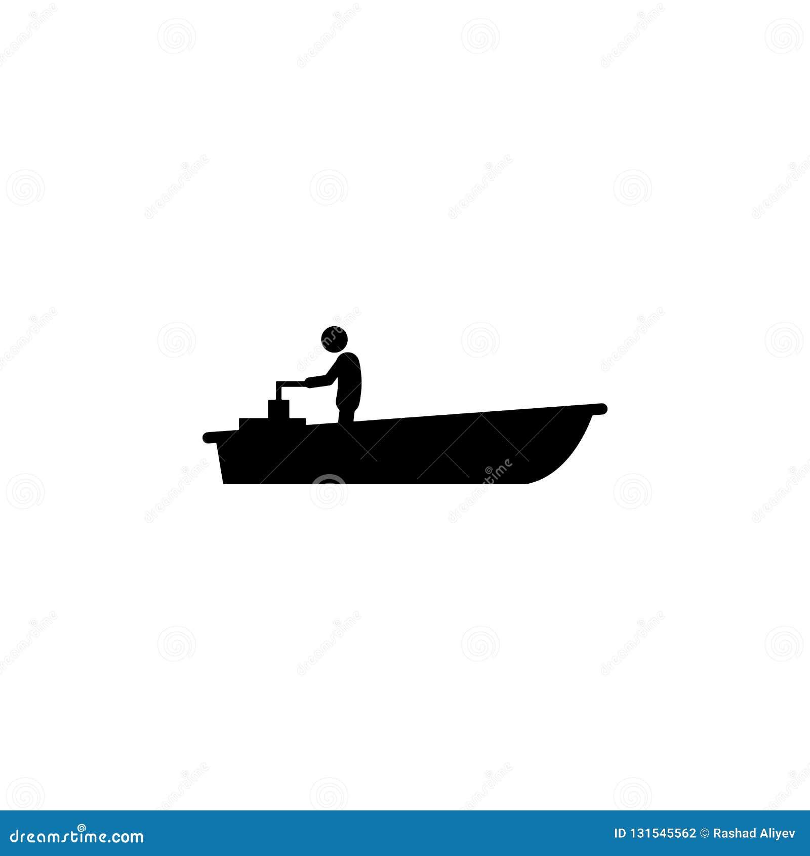 Motor, icono del barco Elemento del icono del transporte del agua para los apps móviles del concepto y de la web El motor detalla