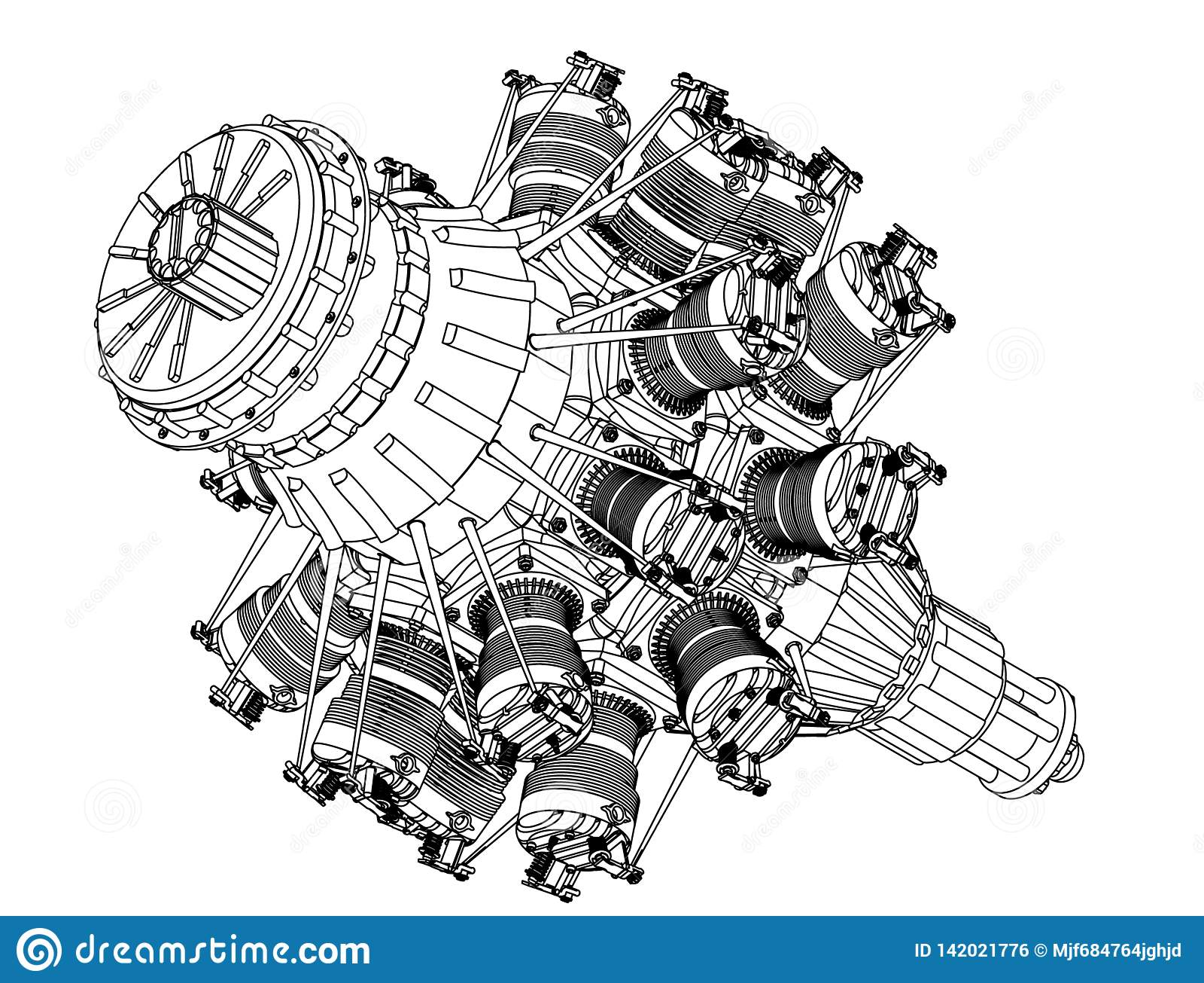 Motor radial em um branco