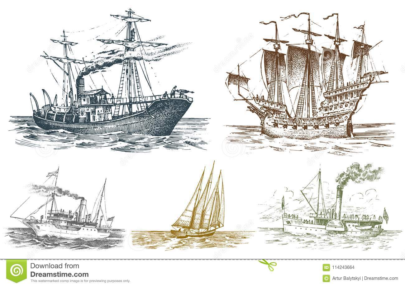Sail Ship With Sails Up Old English Adventure Travel Ocean Poster Sea Picture