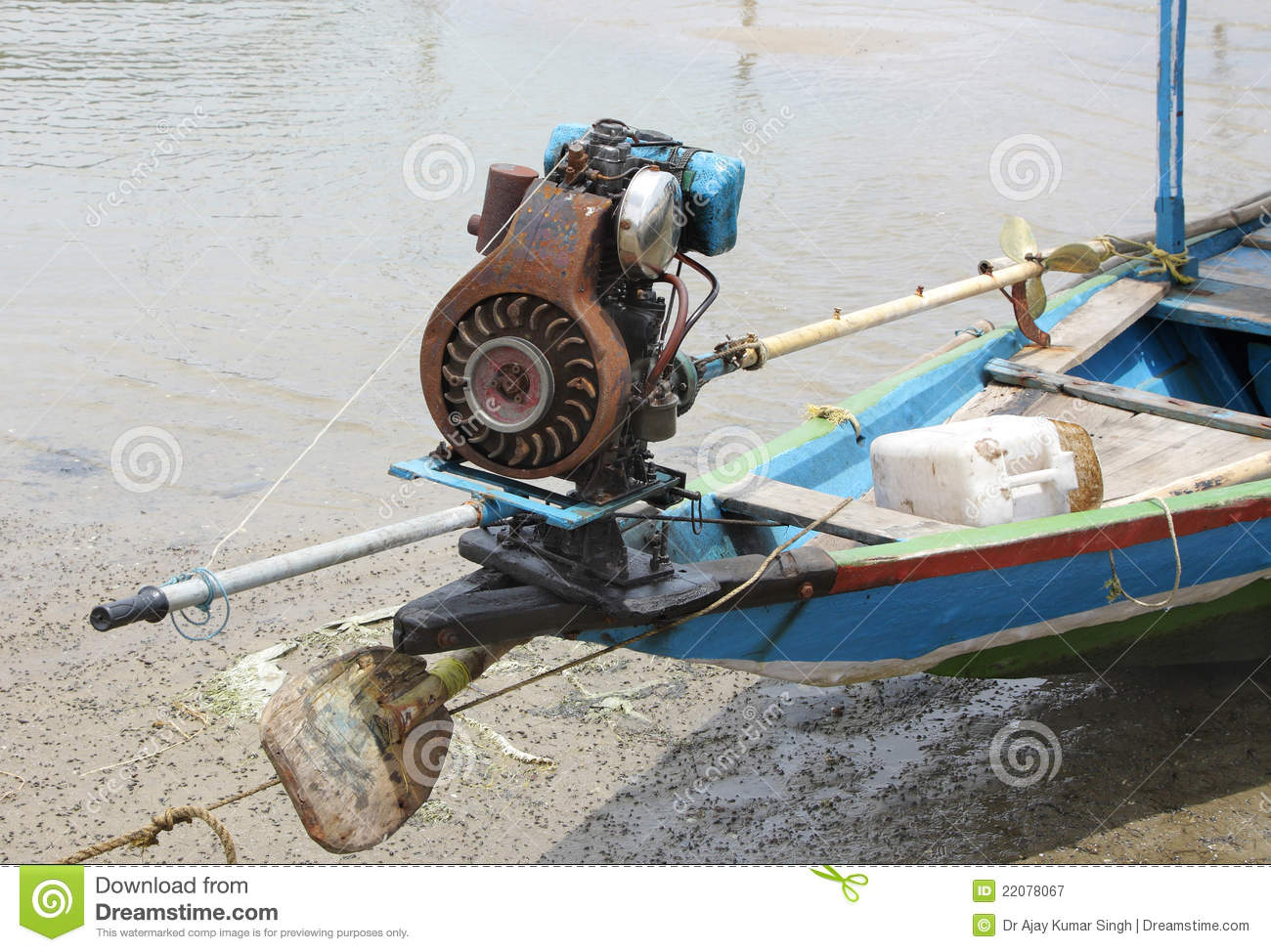 Motor with small propeller in a fishing boat stock image for Fishing boat motor