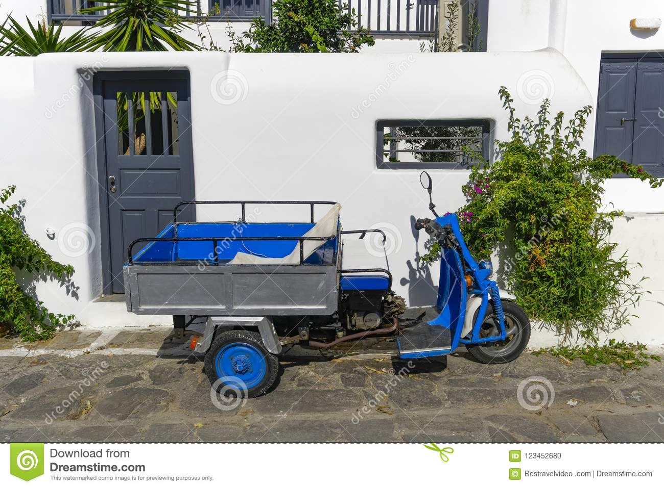Motor Tricycle With Basket Parked Against Whitewashed House Stock Photo Image Of Bike Riding 123452680