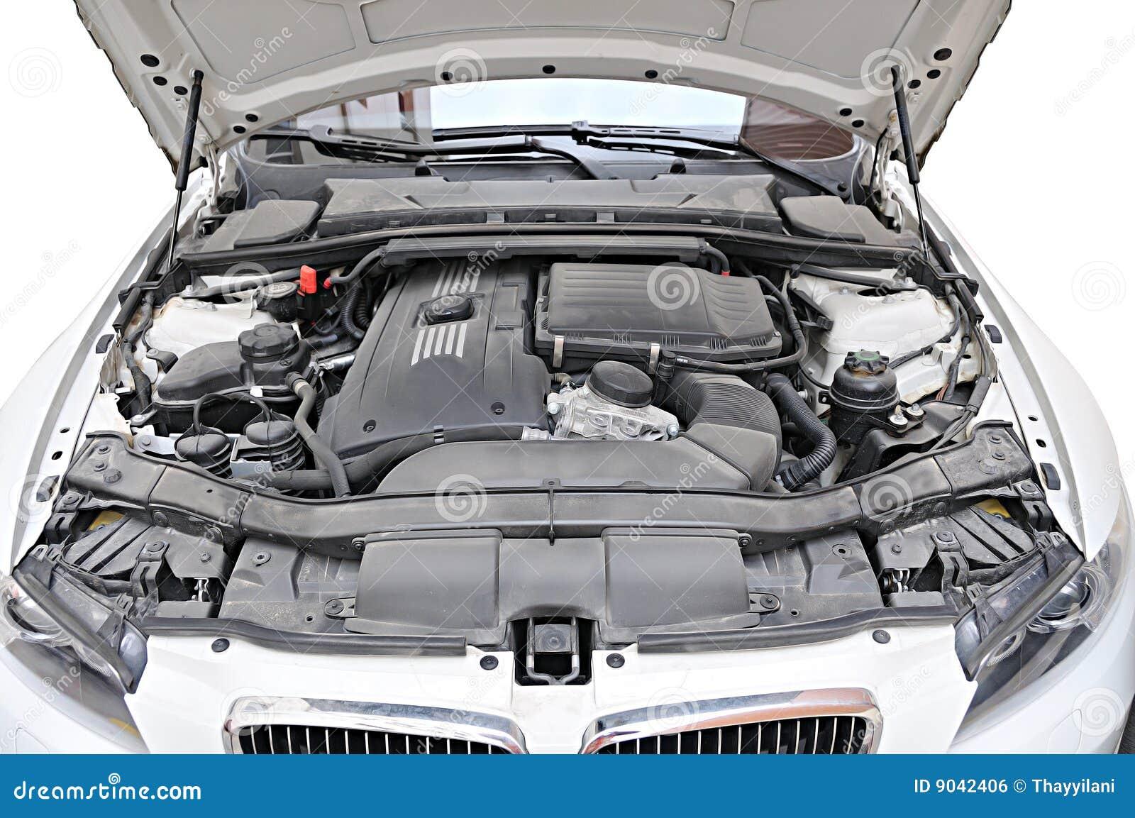 Motor van de auto van BMW 335i - bonnet open positie