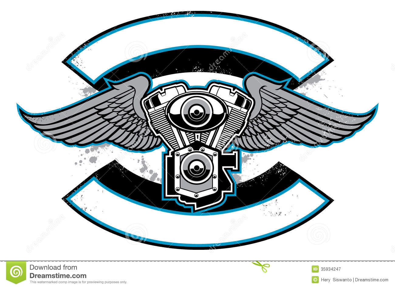 Motorbike Club Badge With Engine And Wings Royalty Free