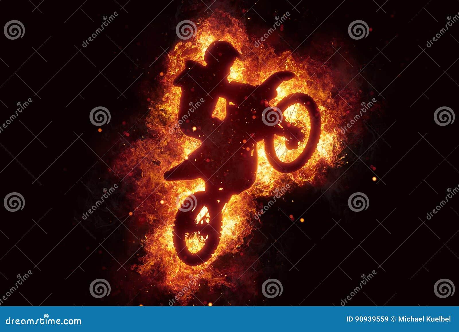 Motorbike cross bike motorcross flames burn fire