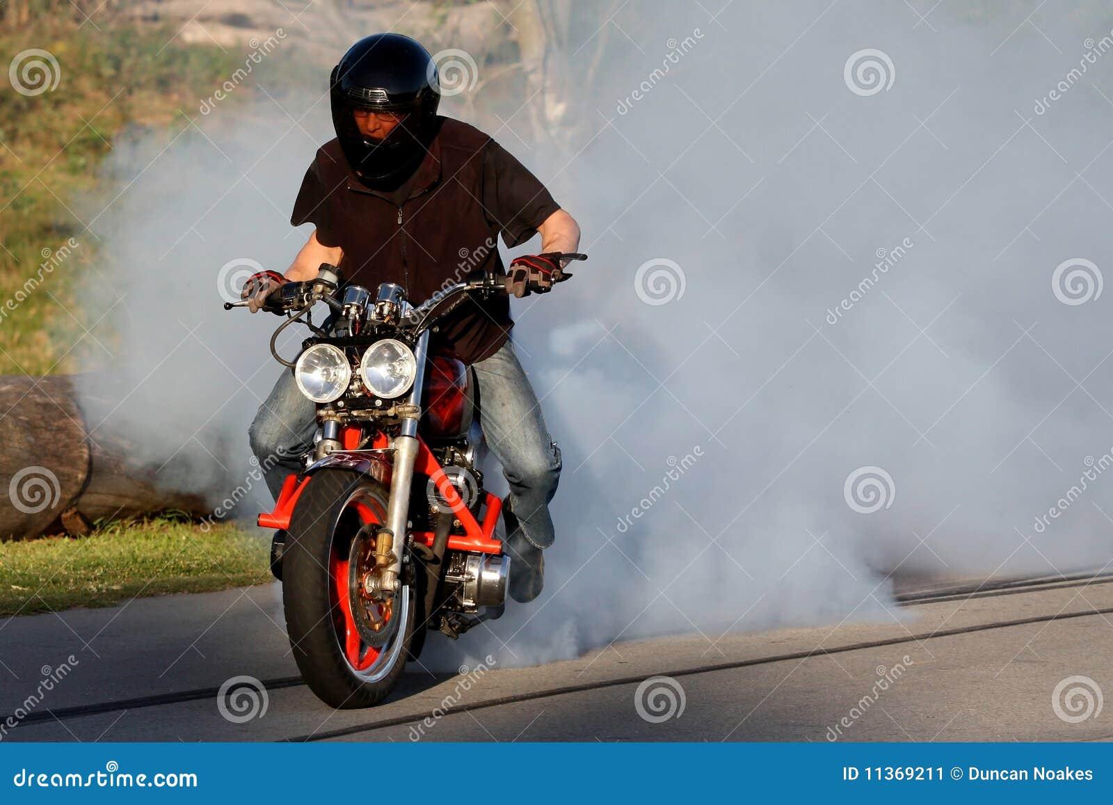 Motorbike Rider Burnout Stock Image Image 11369211