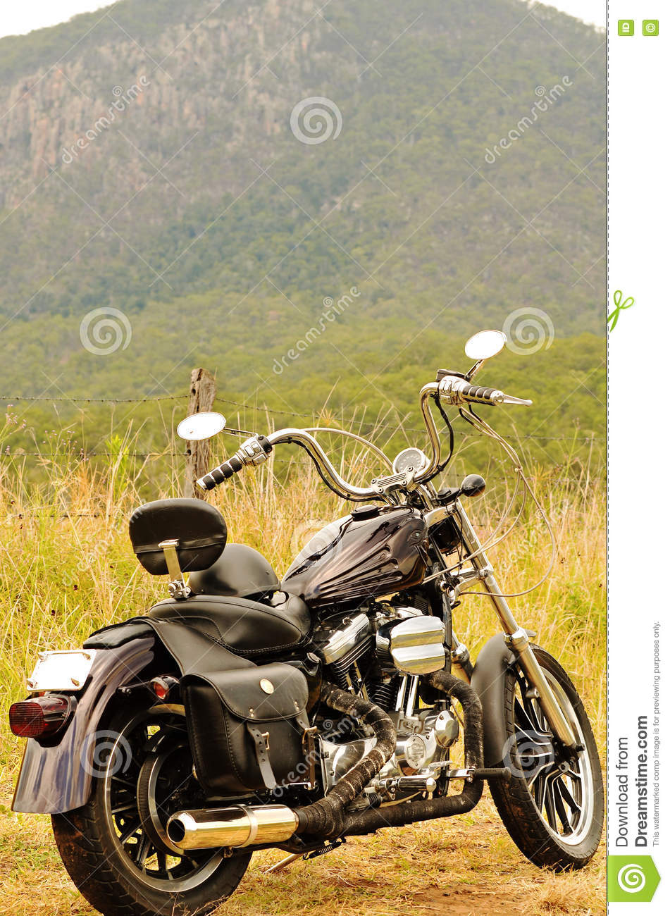 A motorbike on a road trip summer holiday touring outback Australia