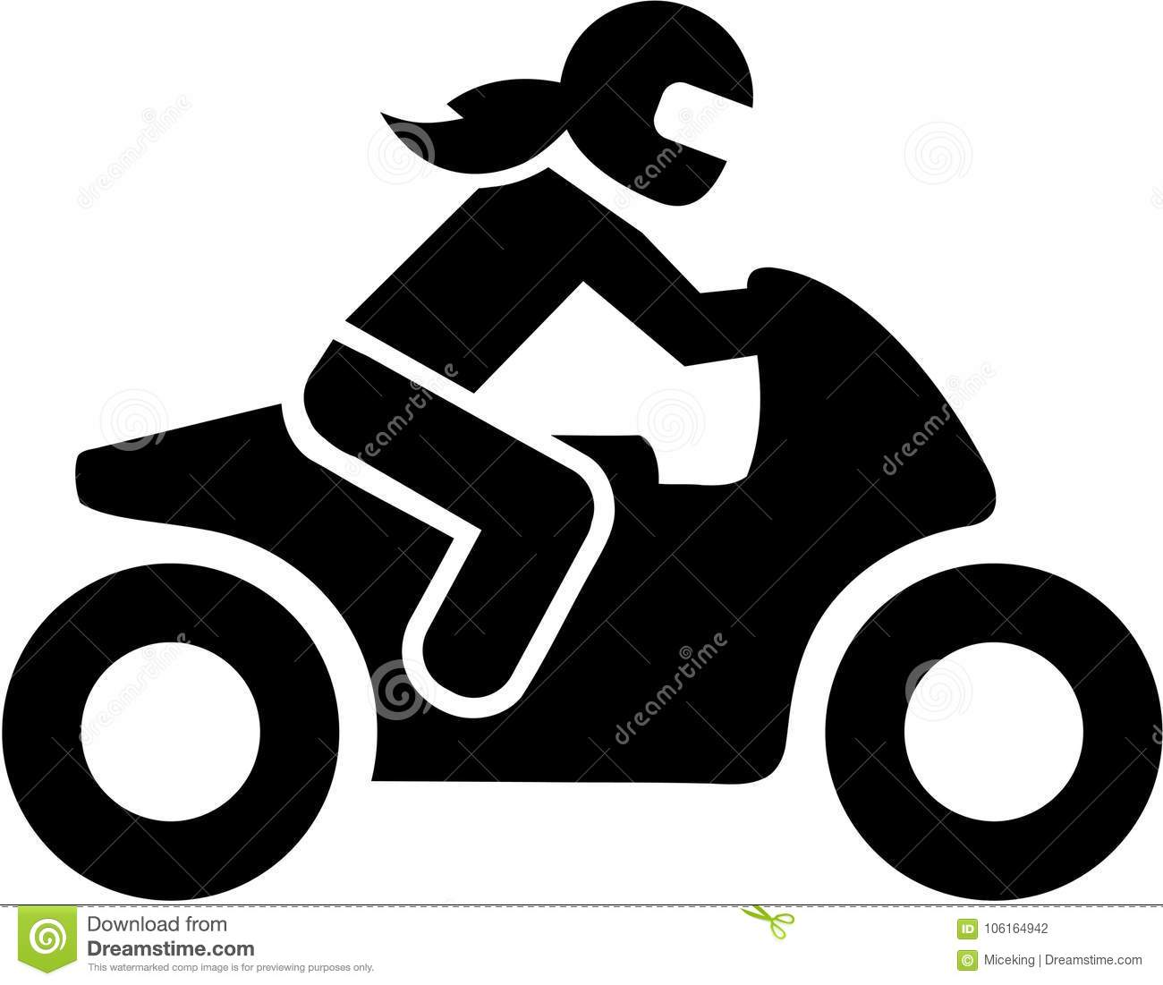 Motorbike Woman Driver Icon Stock Vector Illustration Of