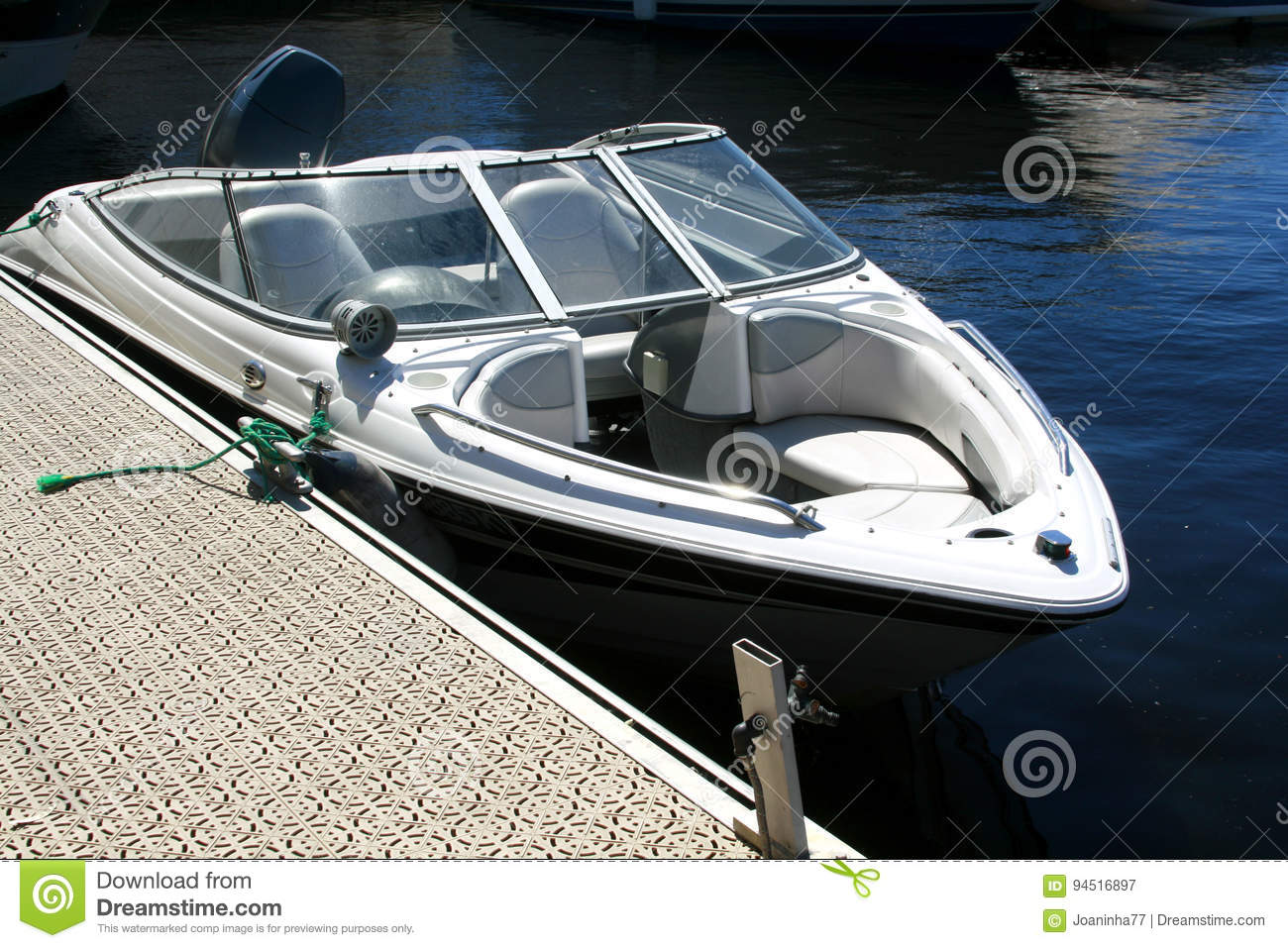 Motorboat on the dock
