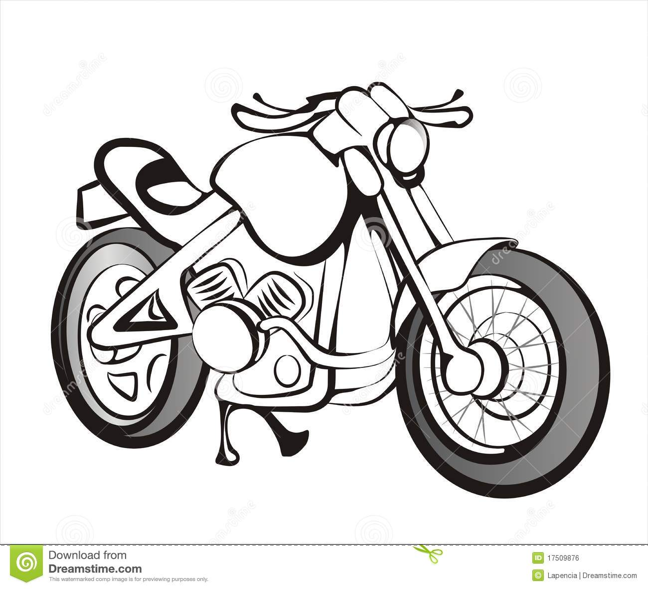 Motorcycle In Black Lines Stock Vector Illustration Of Clipart