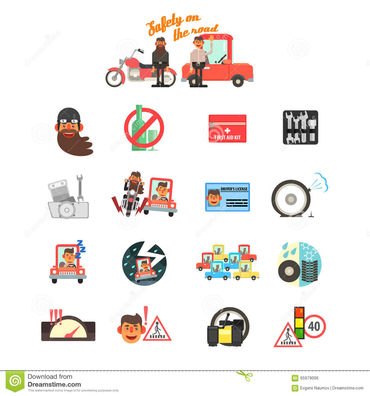 Motorcycle And Car Safety Drive Rules. Vector Illustration