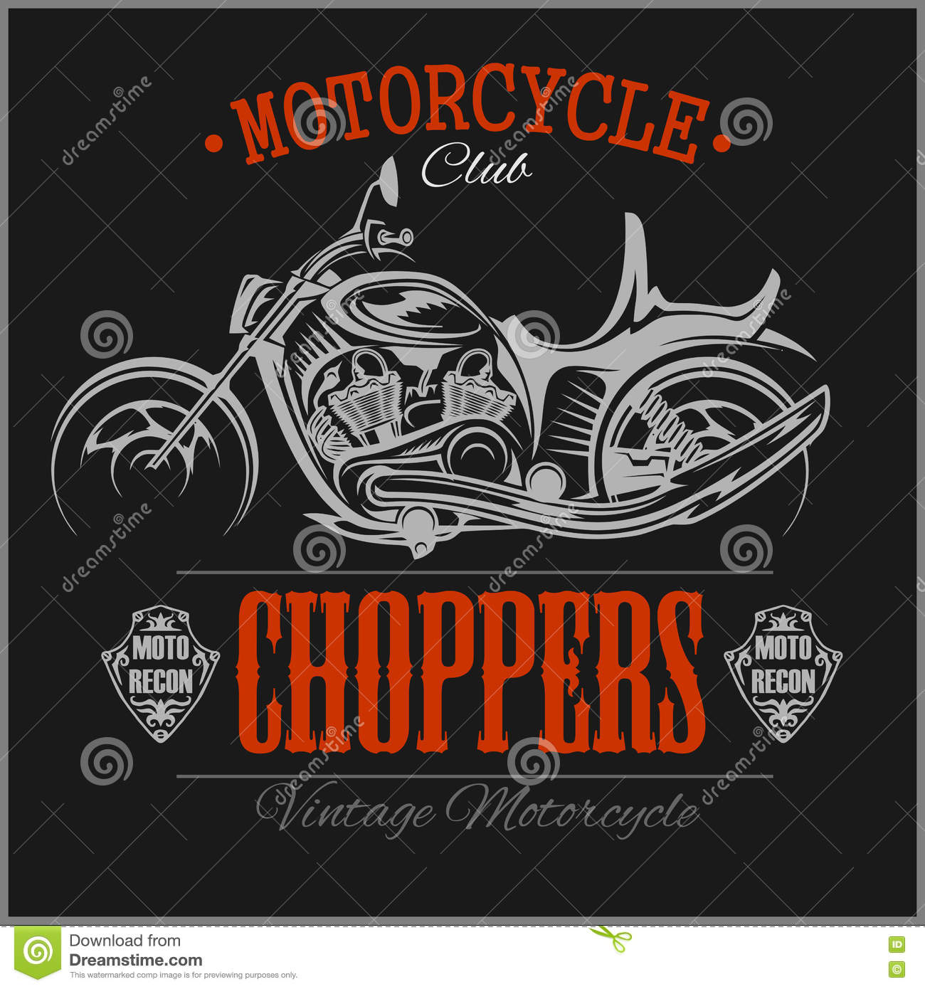 motorcycle chopper logo vector vintage garage logotype