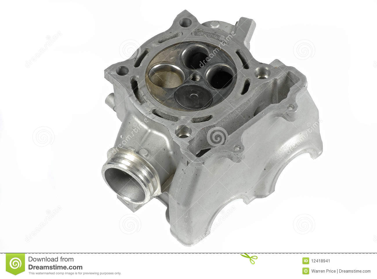 Motorcycle Cylinder Head : Motorcycle cylinder head bottom view stock image