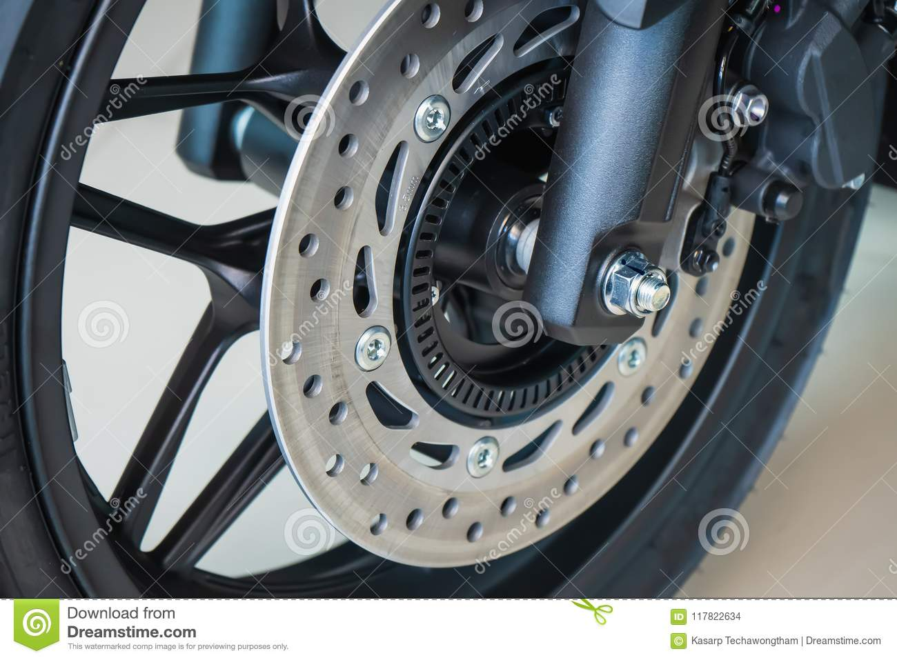 Motorcycle Disk Brake With Abs System Front Wheel Motorcycle B Stock Photo Image Of Background Bike 117822634