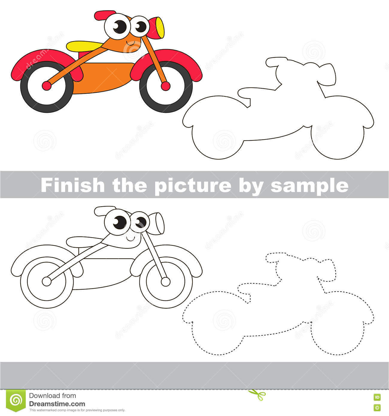 Motorcycle Drawing Worksheet Stock Vector Illustration Of Step