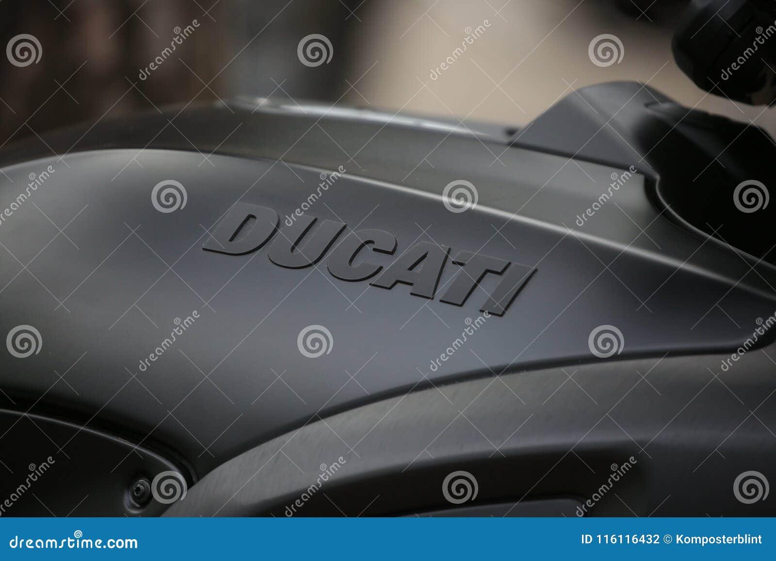 Motorcycle Ducati Diavel Matt Black  Brand Name On Petrol Tank Close