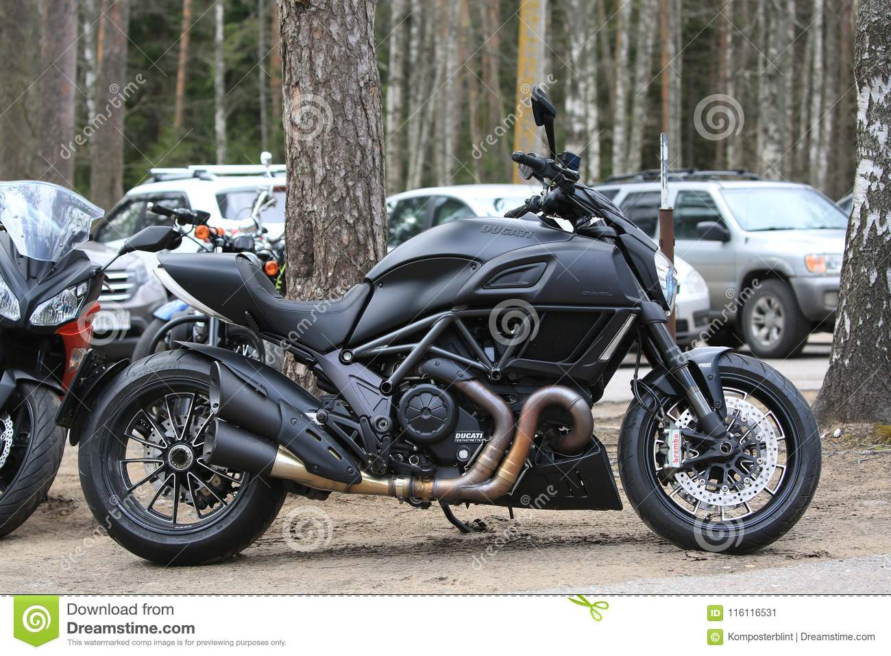 Motorcycle Ducati Diavel Matt Black Right Side View Against The
