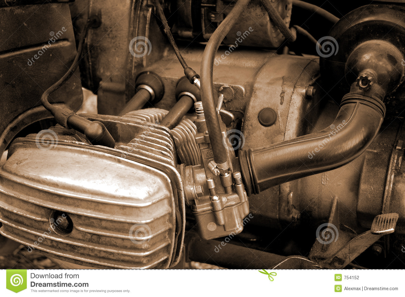Motorcycle Engine Close Up Abstract Background on Spark Plug System