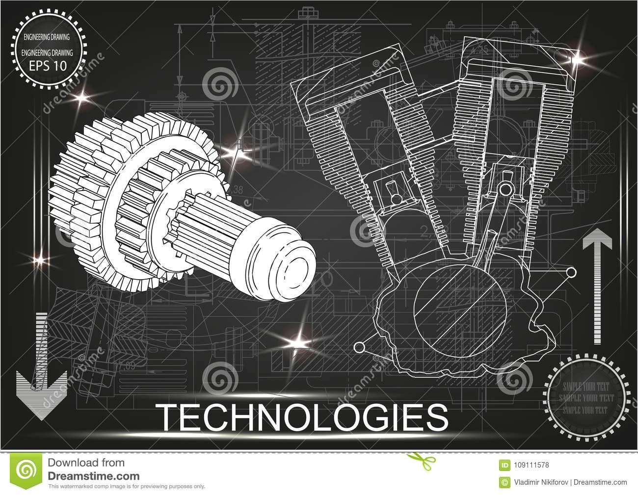 Motorcycle Engine And Cogwheels Stock Vector - Illustration of ...