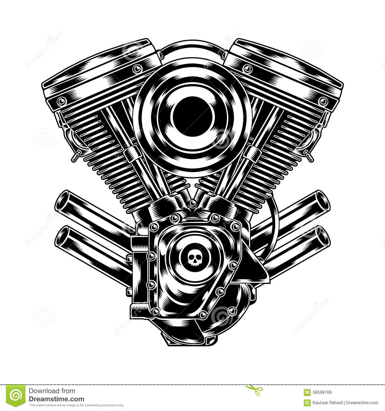 Illustration of motorcycle engine in chrome look. Suitable for graphic ...