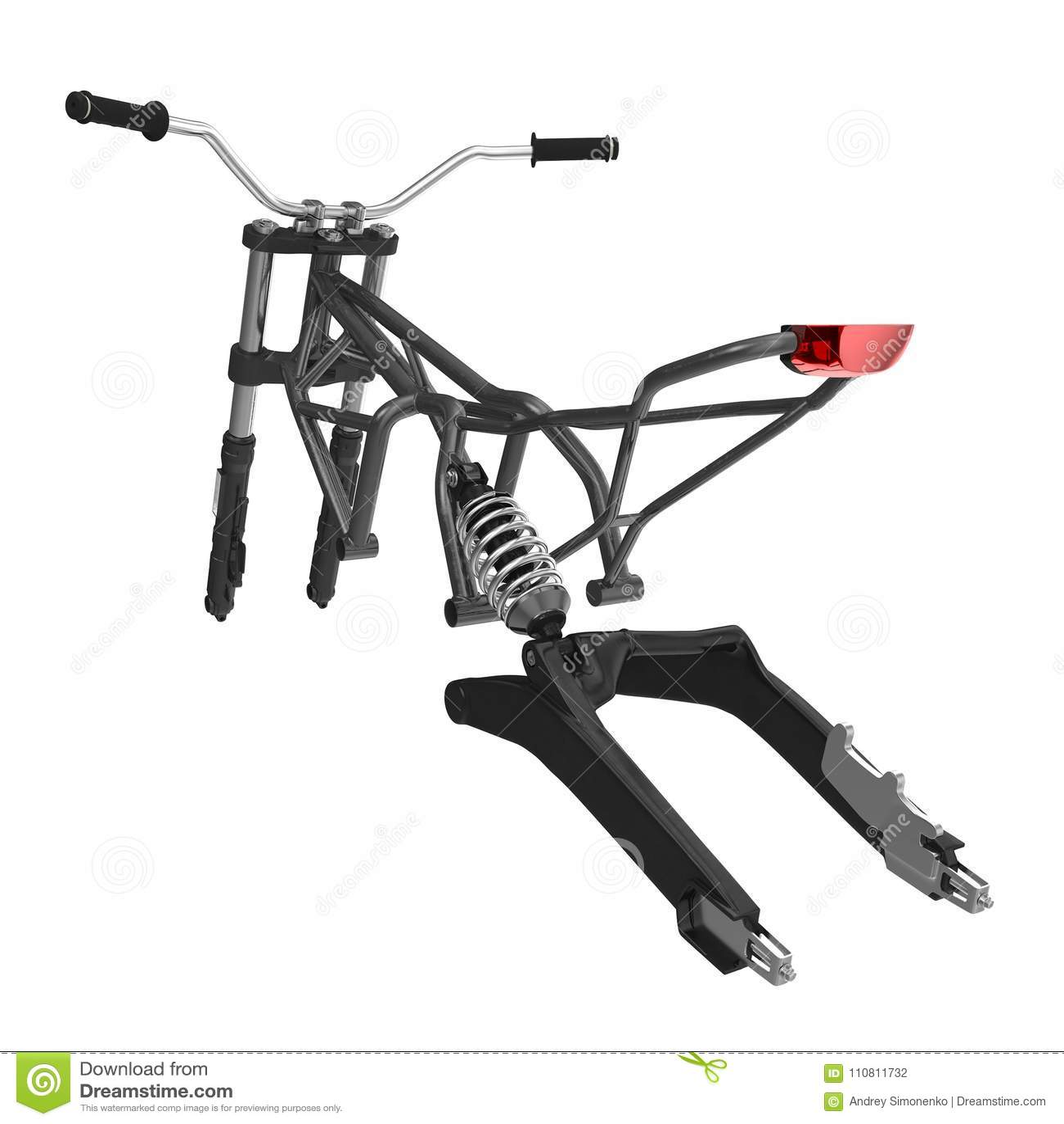 Motorcycle Frame On White. 3D Illustration Stock Illustration ...