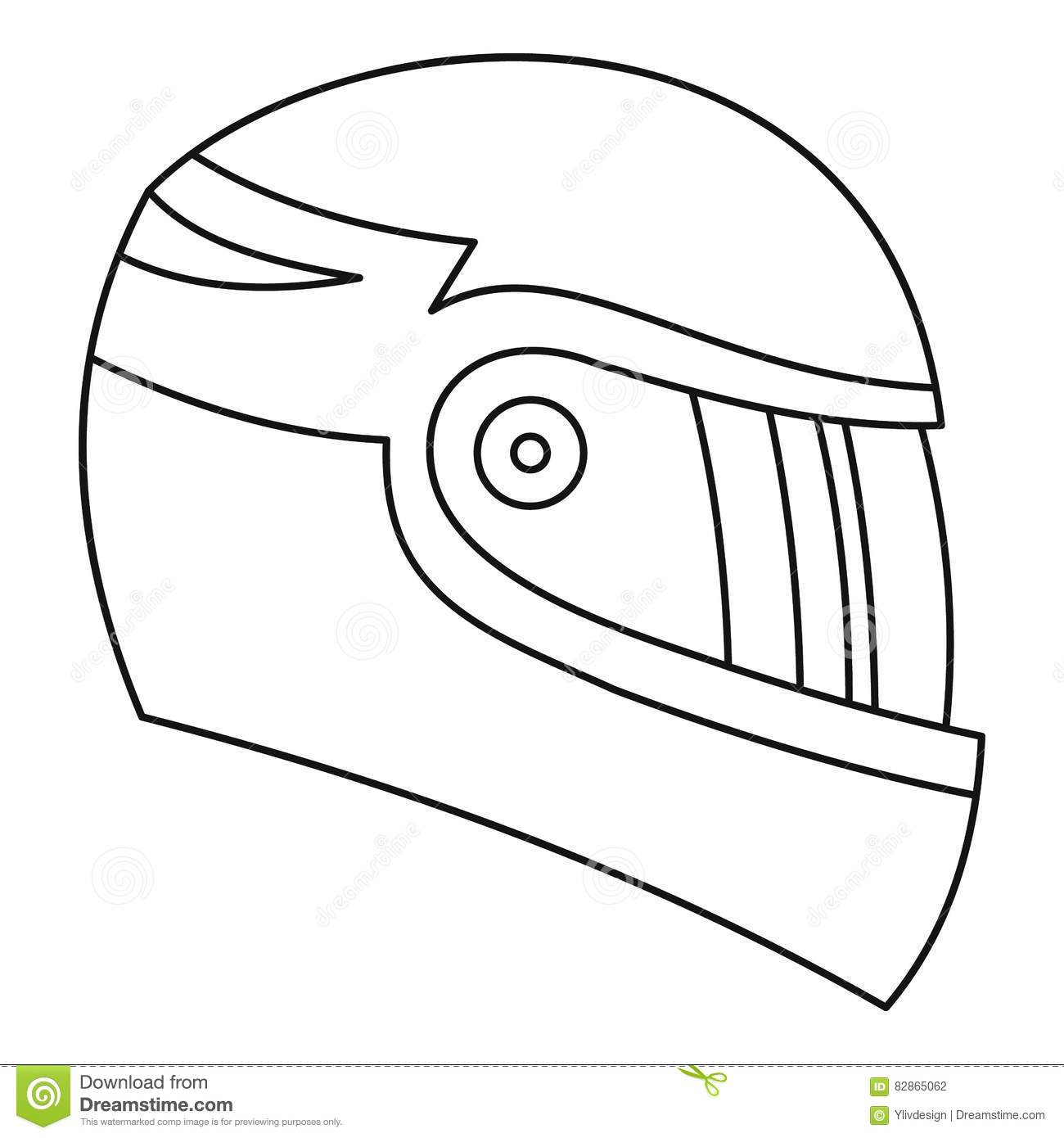 Motorcycle helmet icon outline style stock vector image for Motorcycle helmet coloring pages