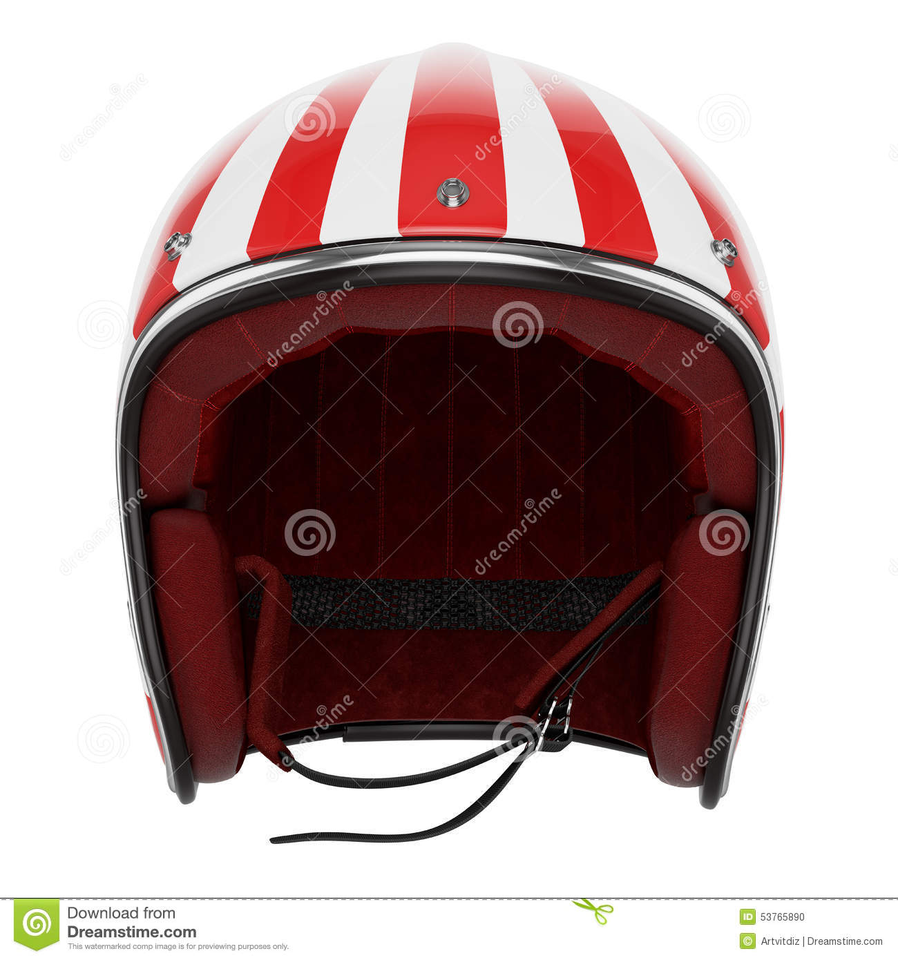 Motorcycle Helmet Red White Front View Stock Illustration