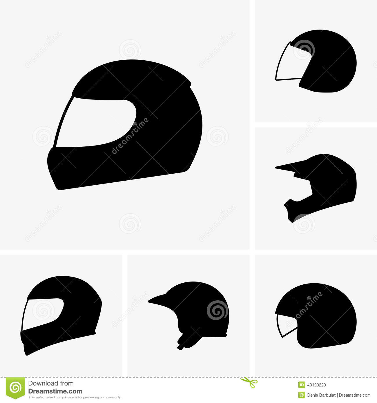 Motorcycle Helmets Stock Vector Image Of Object Design