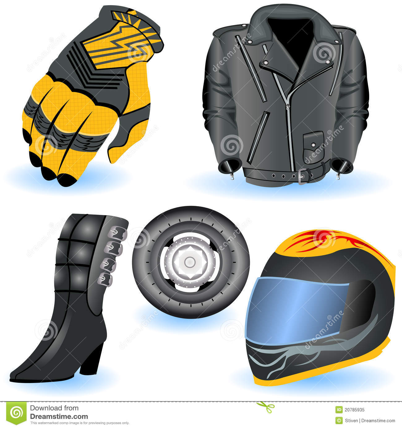 Sportbike Riding Boots >> Motorcycle Helmet, Gloves And Boots. Royalty-Free Stock Photography | CartoonDealer.com #89015687