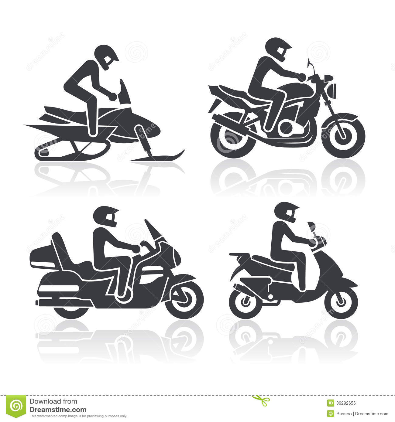 Motorcycle Icons Set Stock Vector Illustration Of Motorbike
