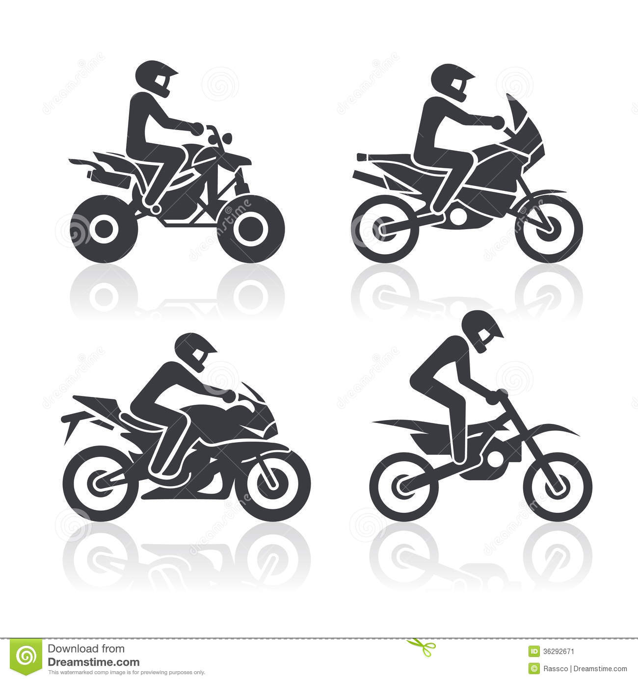 Black and white icons of motorcycles representing different riding ...