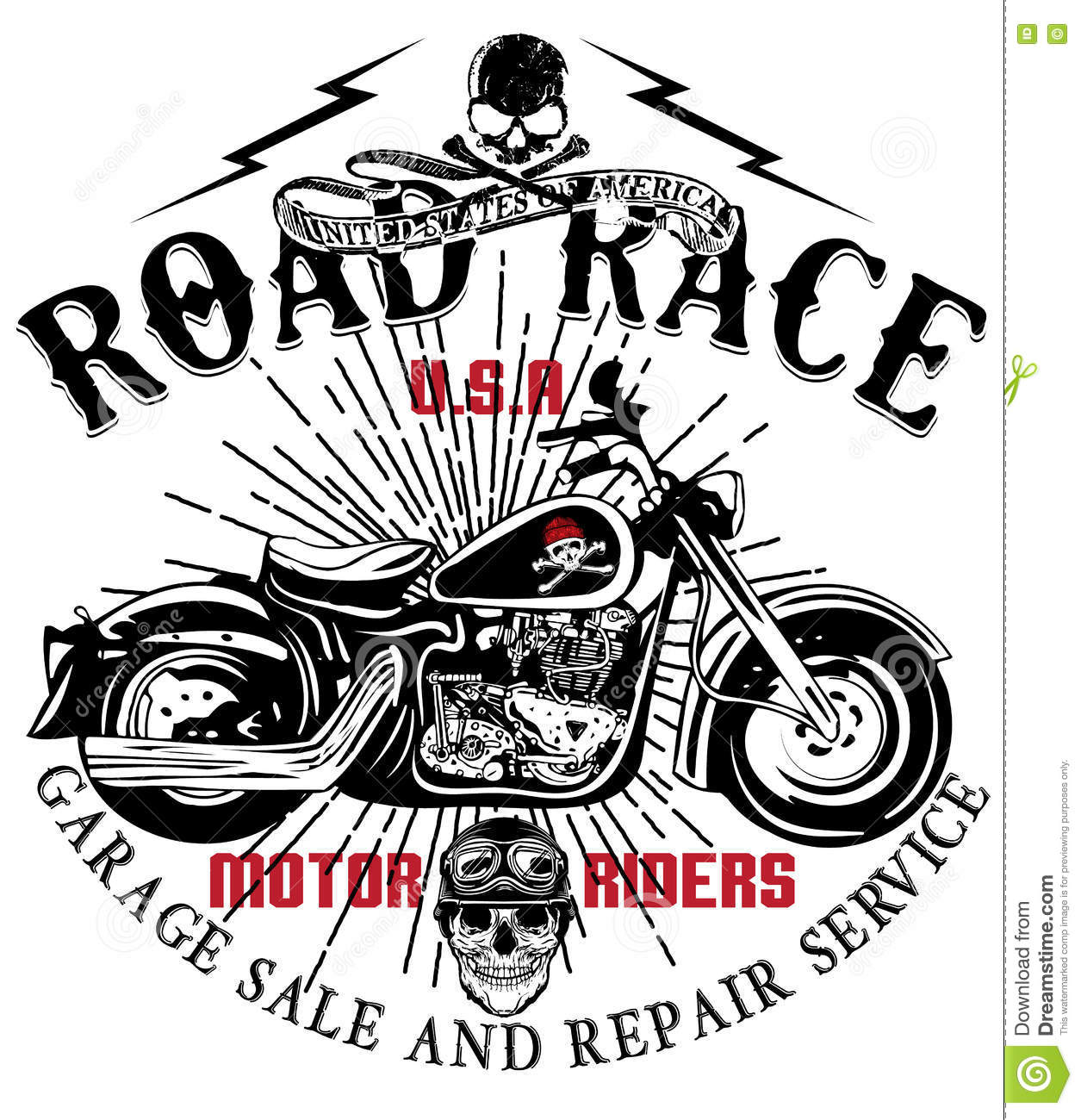Motorcycle Label T Shirt Design With Illustration Of Custom
