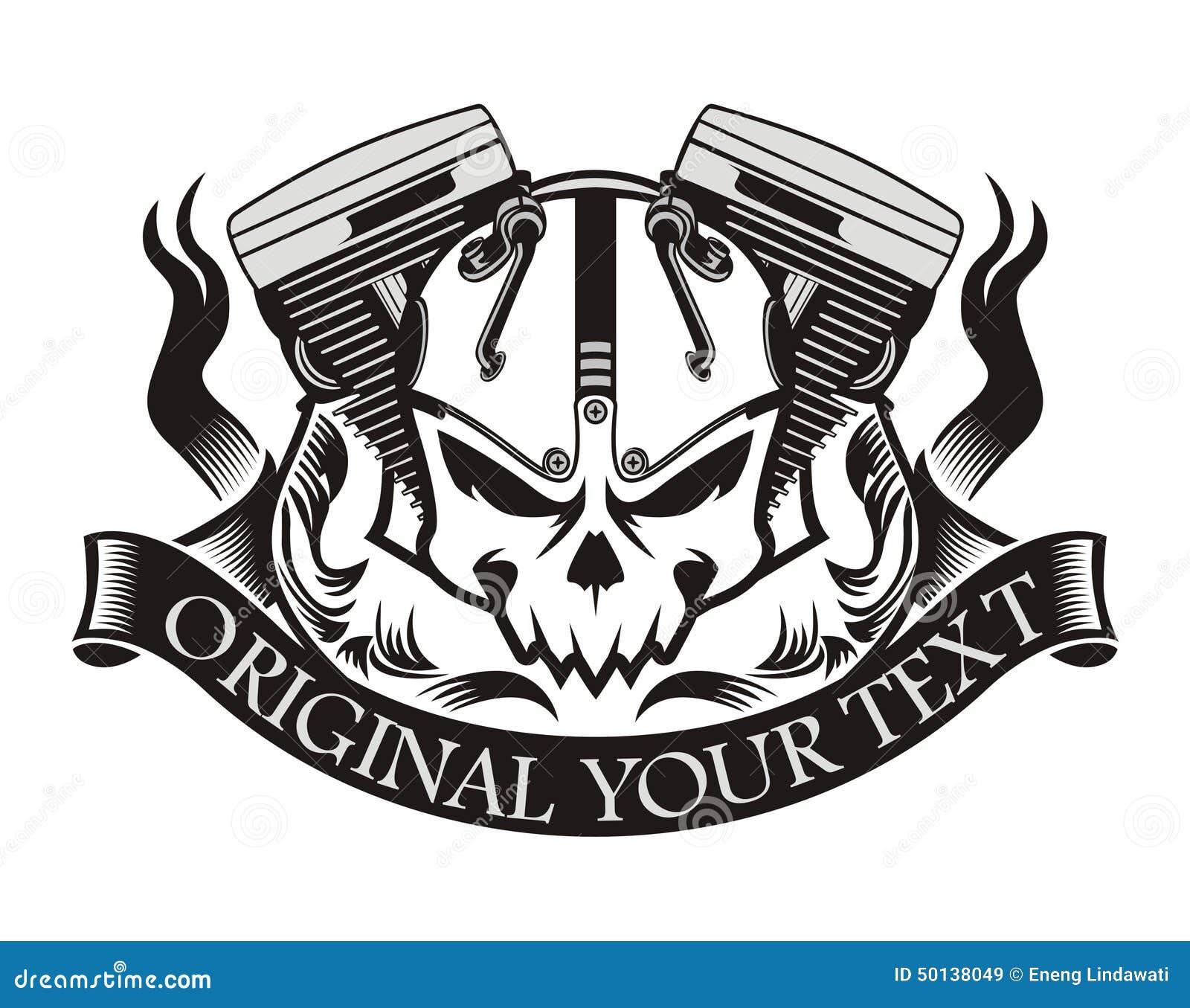 Motorcycle Machine Skull Ribbon Stock Illustration - Image: 50138049