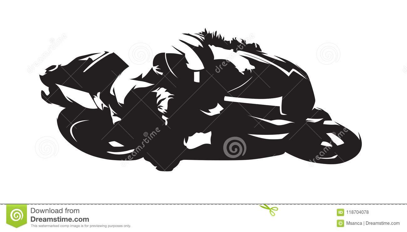 Motorcycle Racing Abstract Vector Silhouette Side View Stock
