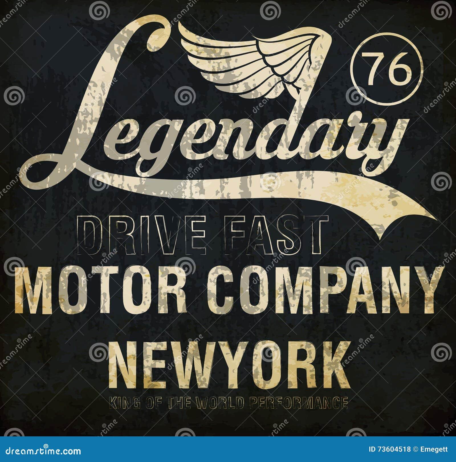 Motorcycle racing legendary typography, t-shirt graphics, vector