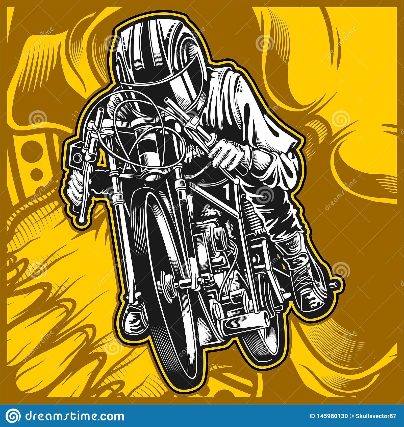 Motorcycle racing vector hand drawing