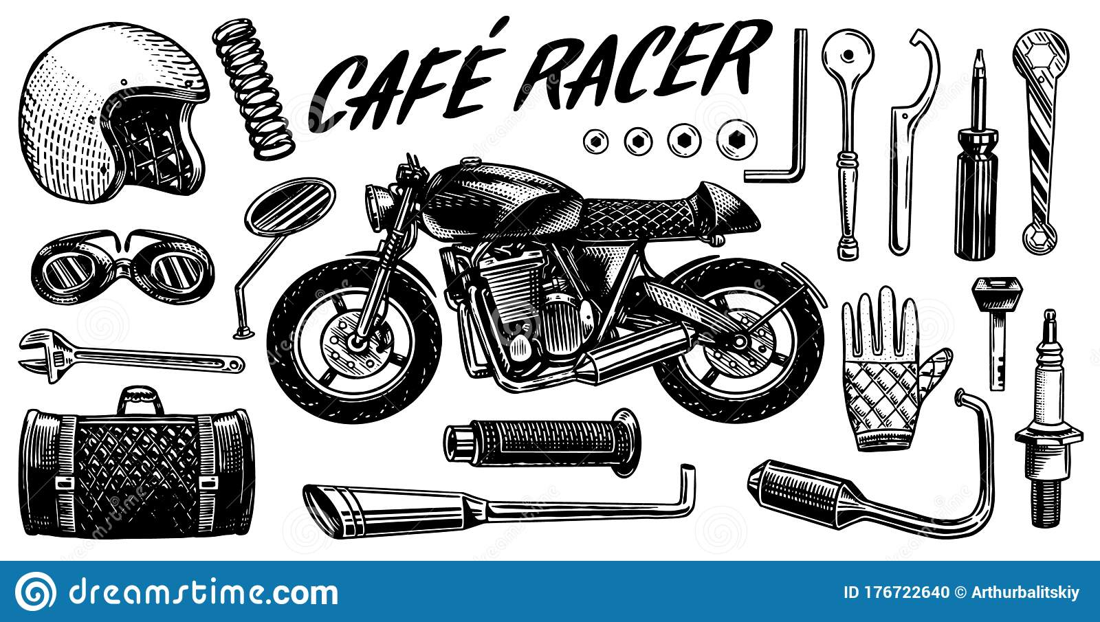 Motorcycle Repair Set Of Tools For The Cafe Racer Bike Gloves Helmet Instruments For Motor Bicycle Mending And Stock Vector Illustration Of Part Label 176722640