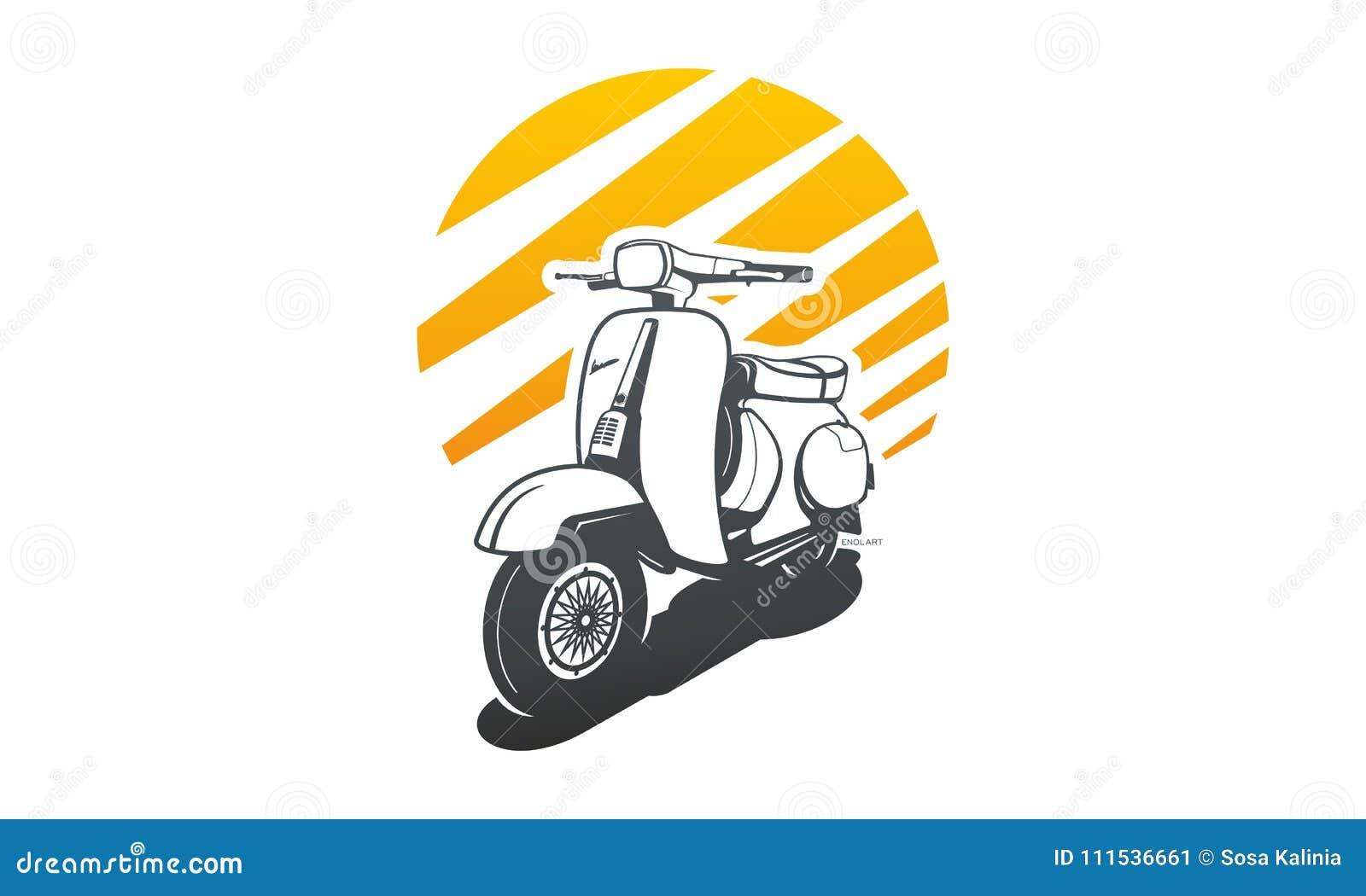 Motorcycle Retro Unique Logo Oldschool Stock Illustration Illustration Of Transport Scooter 111536661