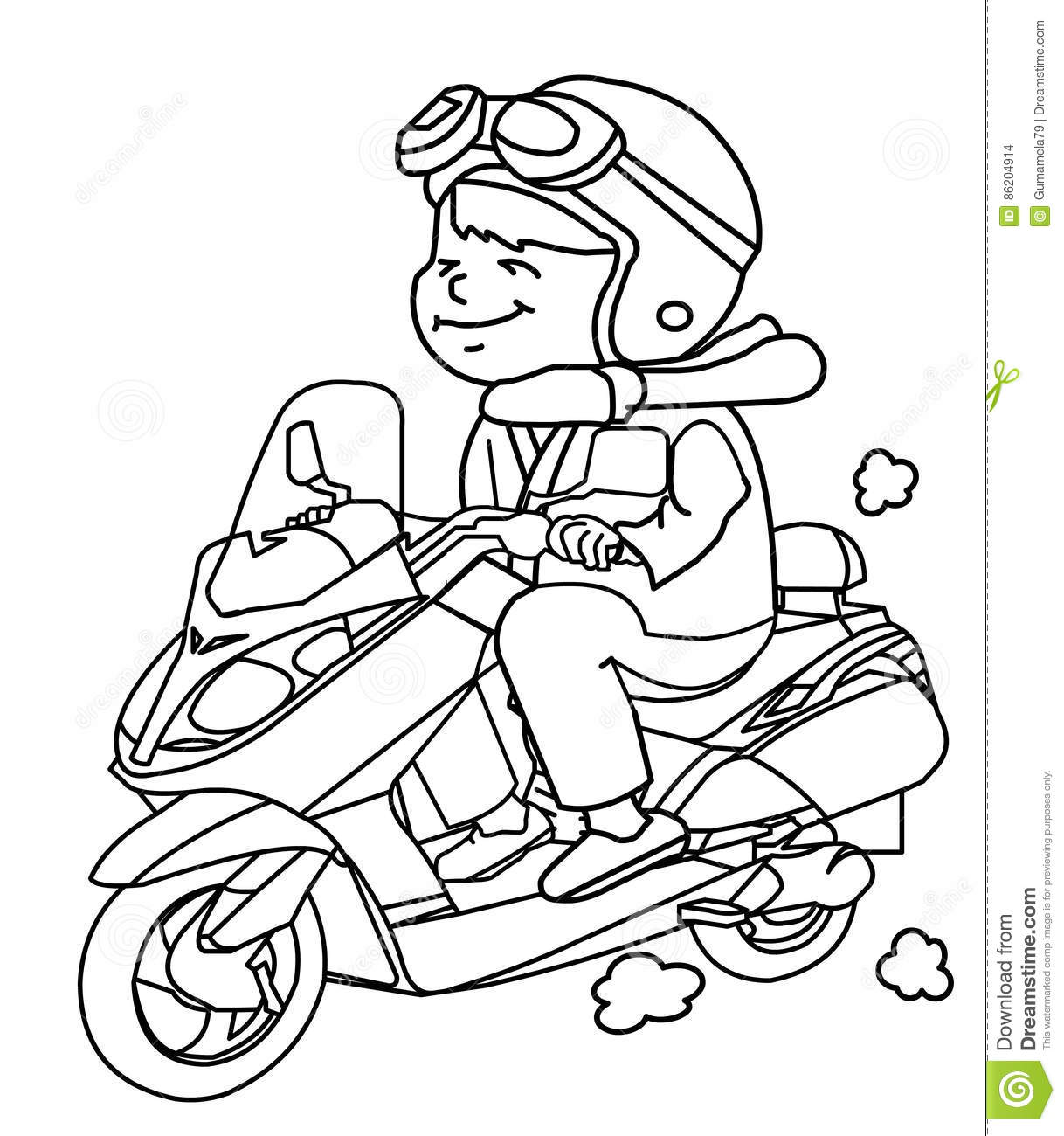 Hand drawn motorcycle rider coloring page for kids