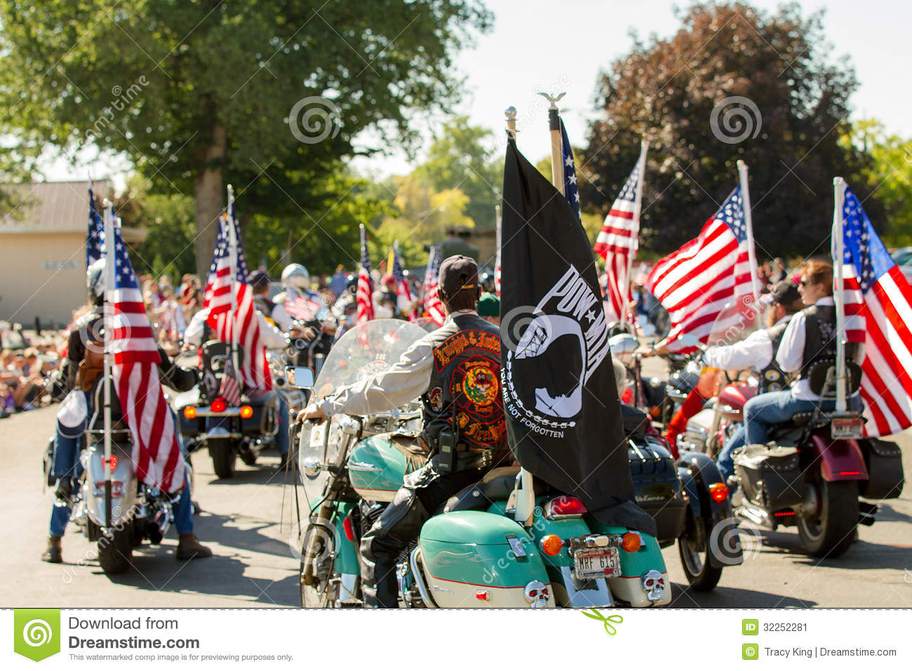 Motorcycle riders at the fourth of july parade in middleton