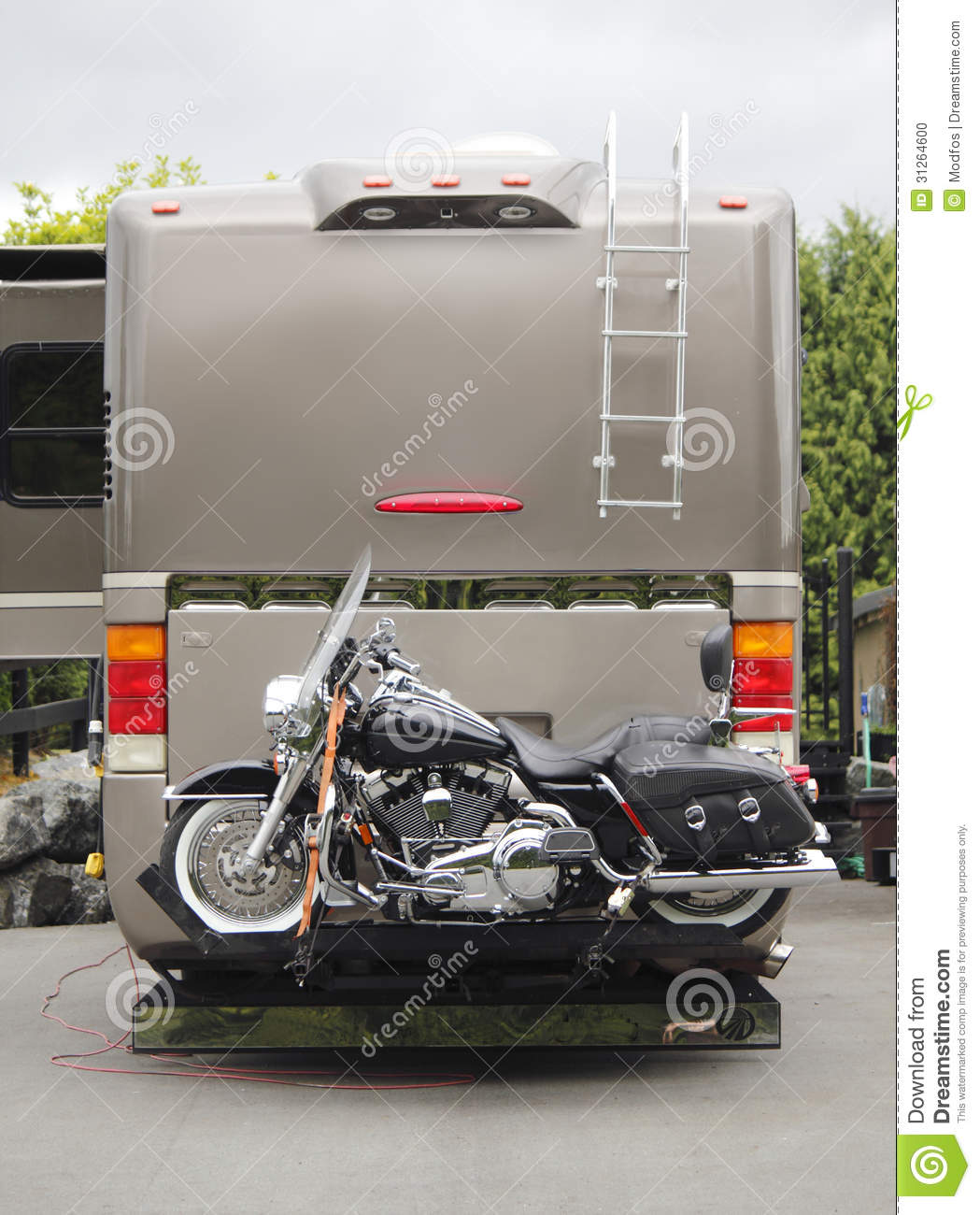 Recreational Vehicle: Motorcycle RV Hitch Stock Photo