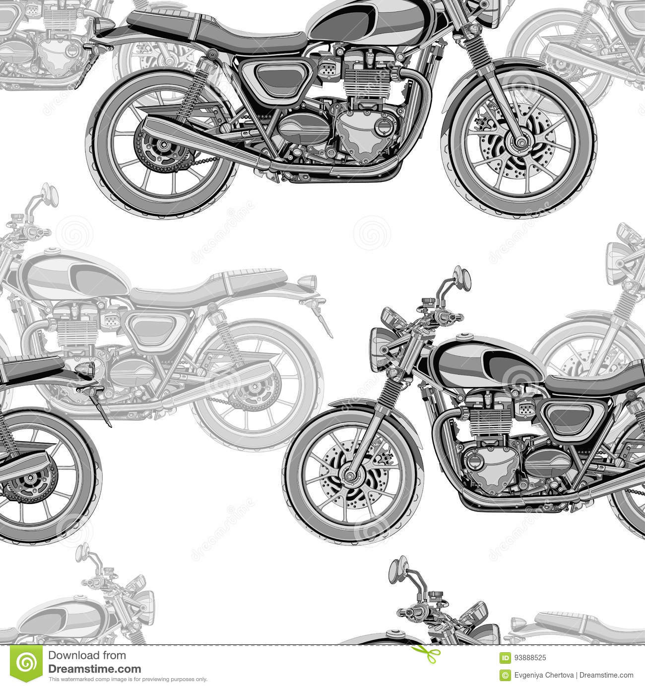 Motorcycle Seamless Pattern, Vector Background. Monochrome ...