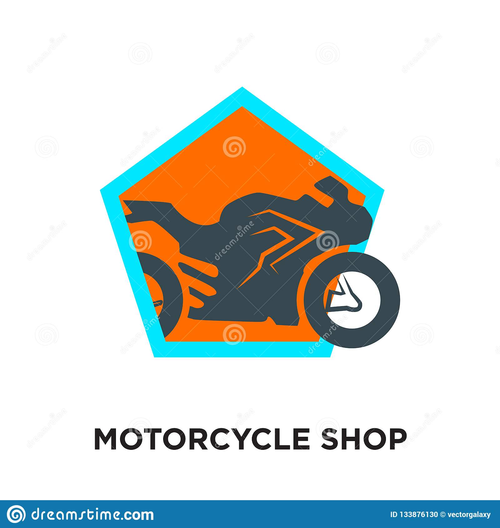 motorcycle shop logo isolated on white background for your web